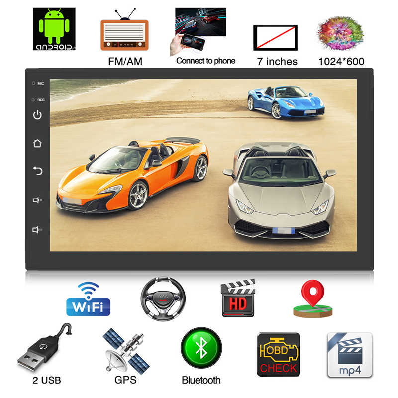 "7"" 2 DIN Car Radio Stereo MP5 Player Android 8.0 1G+16G Quad Core 3G/4G WiFi Bluetooth USB Autoradio GPS Navigation Rear Camera"
