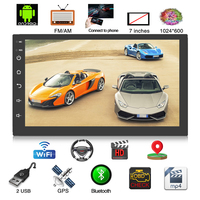 7 2 DIN Car Radio Stereo MP5 Player Android 8.0 1G+16G Quad Core 3G/4G WiFi Bluetooth USB Autoradio GPS Navigation Rear Camera