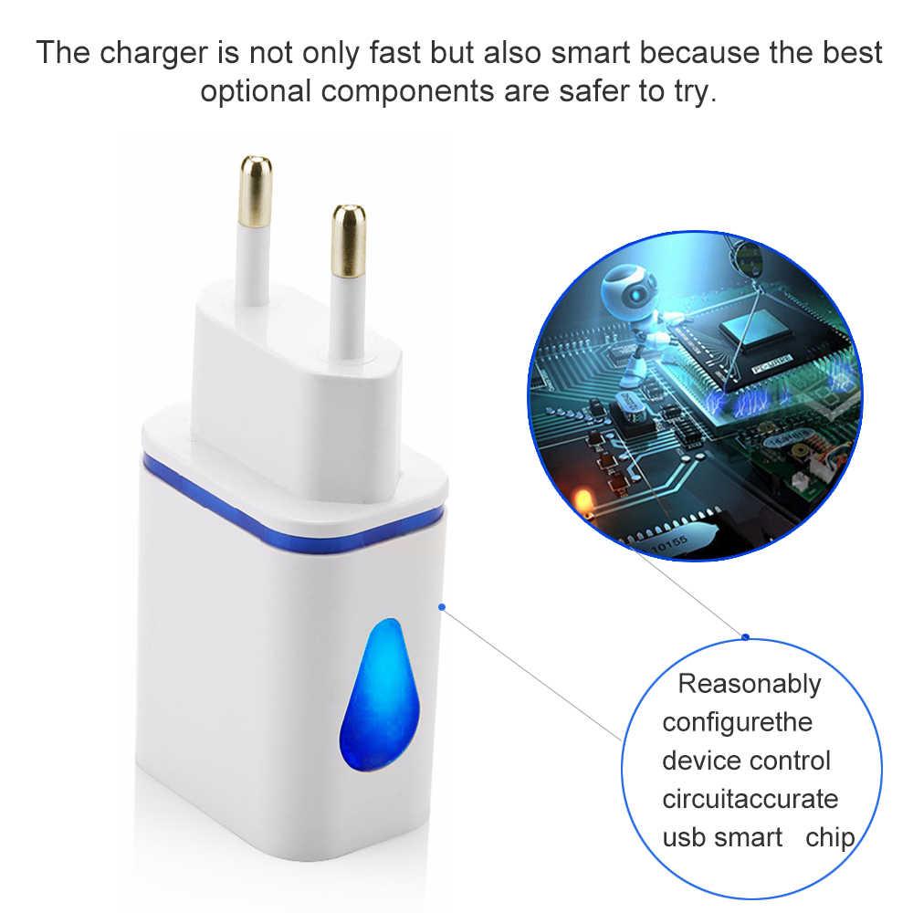 Dual 5 V 2.1A Charger 2 Port USB Bercahaya Uni Eropa Plug Cepat Pengisian untuk Iphone Samsung Xiaomi Huawei Dinding Ponsel biaya Adaptor Daya