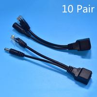 10 Pair POE Cable Passive Power Over Ethernet Adapter Cable POE Splitter Injector Power Supply Module 12 48v For IP Camera Hot