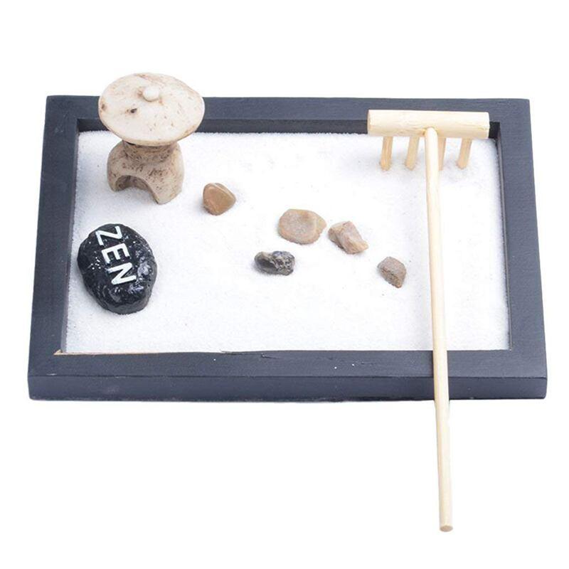 Japanese Karesansui Mini Zen Table Garden With Rattle Pebbles And Sand Decoration Home Office - 15x11x1cm