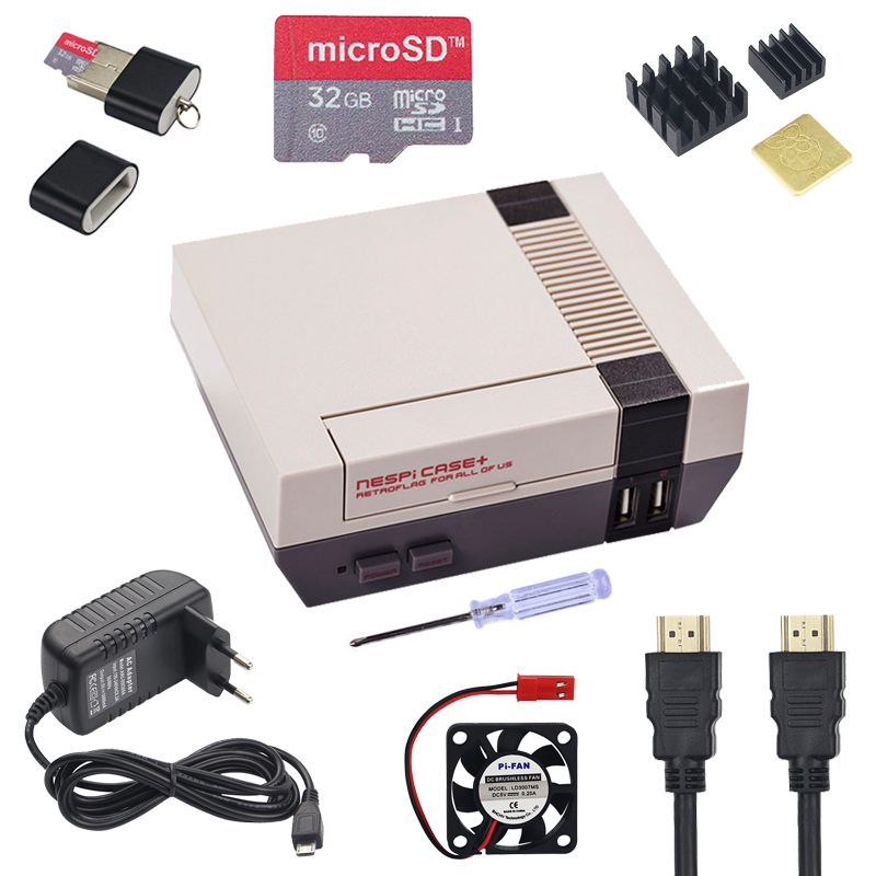 NESPi CASE+ Plus For Raspberry Pi 3 Model B+ |Retroflag Case + 32GB SD Card + Power Adapter + Fan + HDMI Cable For Retropie Game