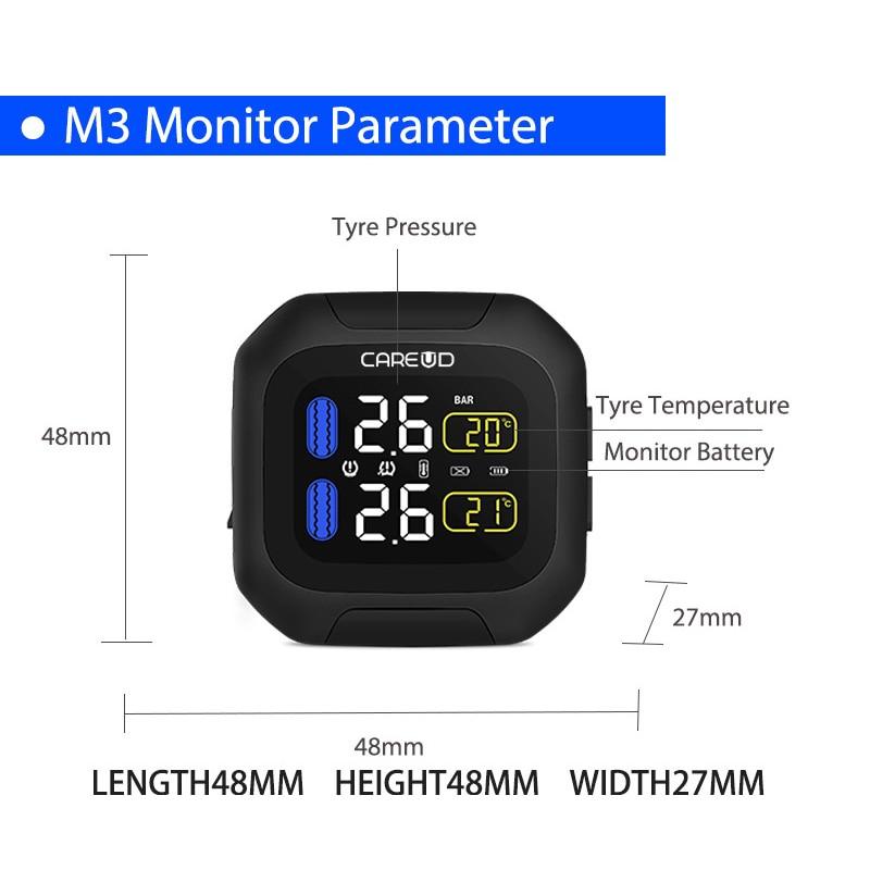 Careud Wireless Motorcycle Tpms Tire Pressure Monitoring System Motor Tyre Auto Alarm 2 Sensor Moto Tools