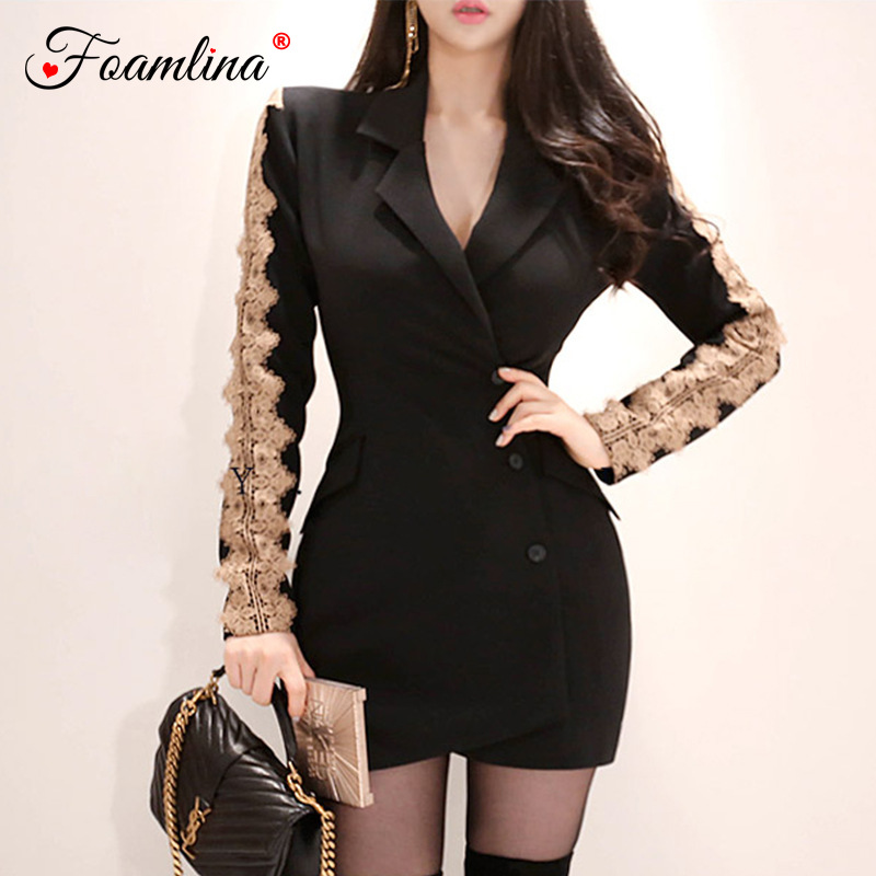 f4e5020e18acc US $35.3 31% OFF Foamlina Floral Lace Patchwork Blazer Dress Notched Collar  Long Sleeve Casual Work Dress 2018 Autumn Winter Office Ladies Dress-in ...