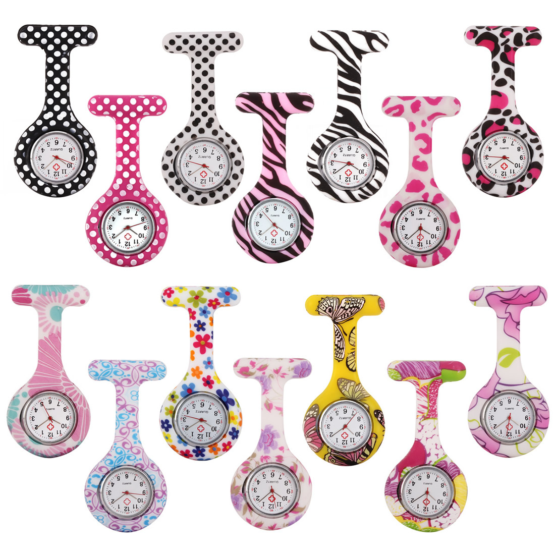 Pocket Watch Clip-on Fob Quartz Brooch Hanging Rubber Silicone Nurse Watch Fashion Casual Men Women Unisex Relogio Feminino Sa