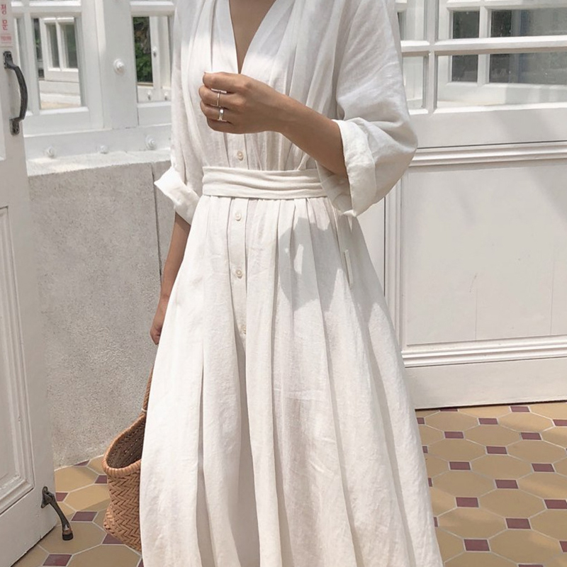 Coréen femmes décontracté été longue robe en lin solide automne robe de soirée Vestidos mignon vêtements bureau dame pli lâche ceinture robe