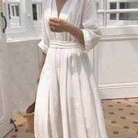 Korean Women Casual Summer Long Linen Dress Solid Autumn Party Dress Vestidos Cute Clothing Office Lady Fold Loose Belt Dress