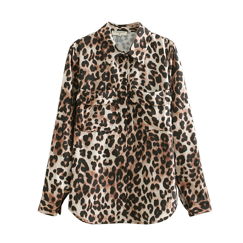 2019 Leopard Printing Shirt Women Long Sleeve Oversize Shirt Korean Cute Blouses Top In Pink Blue Khaki