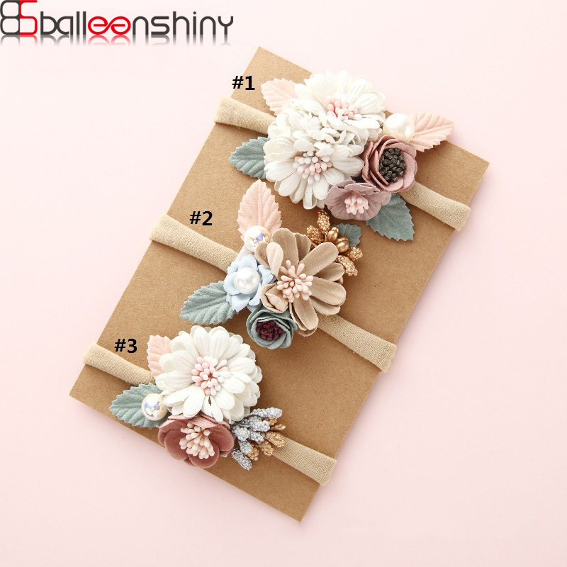 BalleenShiny Sweet Newborn Flower Elastic Headband With Pearl Infant Hairband Princesses Headwear Accessories Photograph Pro