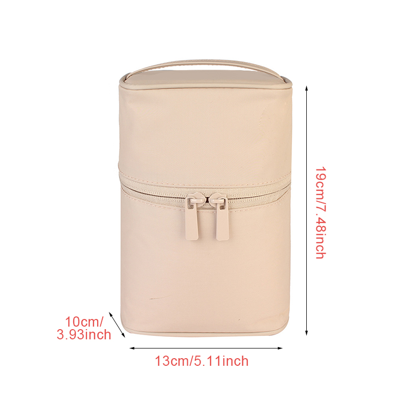 Washable Barrel Shaped Makeup Organizer with Zipper for Women Suitable for Travel and Home Use 1
