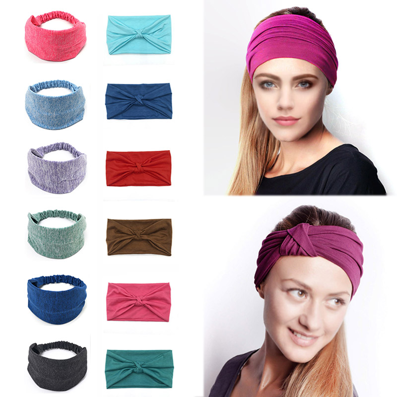 Fashion Absorbent Wide Headbands Hair Bands Cotton Stretch 1PC Headpiece   Headwear   Headwrap Women Hair Accessories Bandage Turban