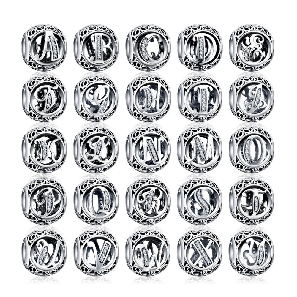 Concienzudo Dropshipping. Exclusivo. Alfabeto Carta A-z 925 Joyas De Plata Encantos Fit Original Pandora Pulsera Diy Encantos Para La Fabricación De La Joyería