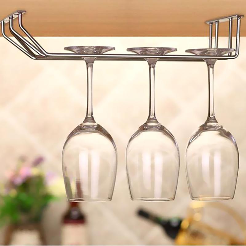 Stainless Steel Wine glass holder Hanging Drinking Glasses Stemware Rack Under Cabinet Storage Double Row Hanging Bar Shelf
