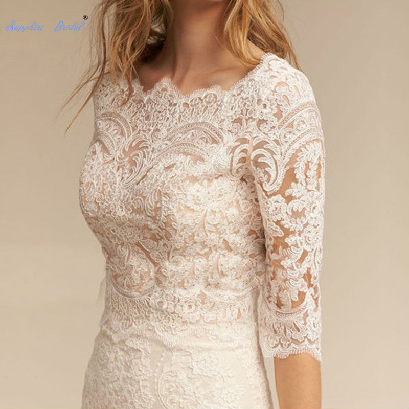 Blanc ivoire boléro mariage mariée veste 3/4 manches dentelle Applique élégant enveloppes nouveau mariage haut