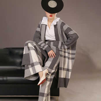 LANMREM High Quality Two Pieces Pants Set For Women 2019 New Fashion Grey Plaid Knit Cardigans Coat + Loose Wide Leg Pants YH142