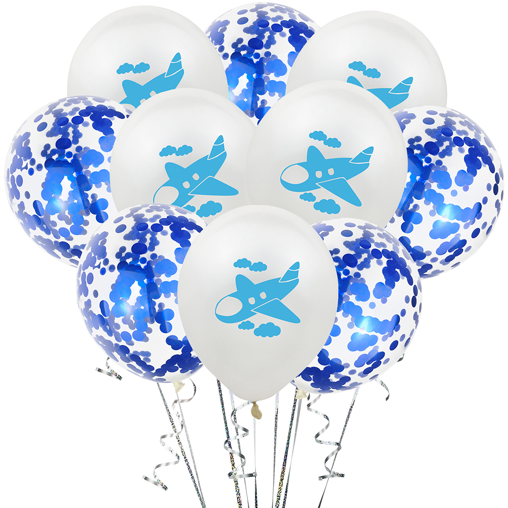Amawill 10Pcs Confetti Latex Balloons Airplane Cartoon Plane Theme Balloons Aircraft Happy Birthday Party Decoration Supplies image