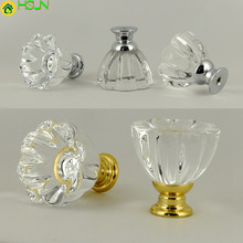 Fashion Creative Petal Clear Glass Crystal Drawer Shoe Cabinet Knob Pull Silver Golden Kitchen Cabinet Cupboard Door Handle 32mm creative cat design drawer knob pull antique silver cabinet cupboard door handle knob