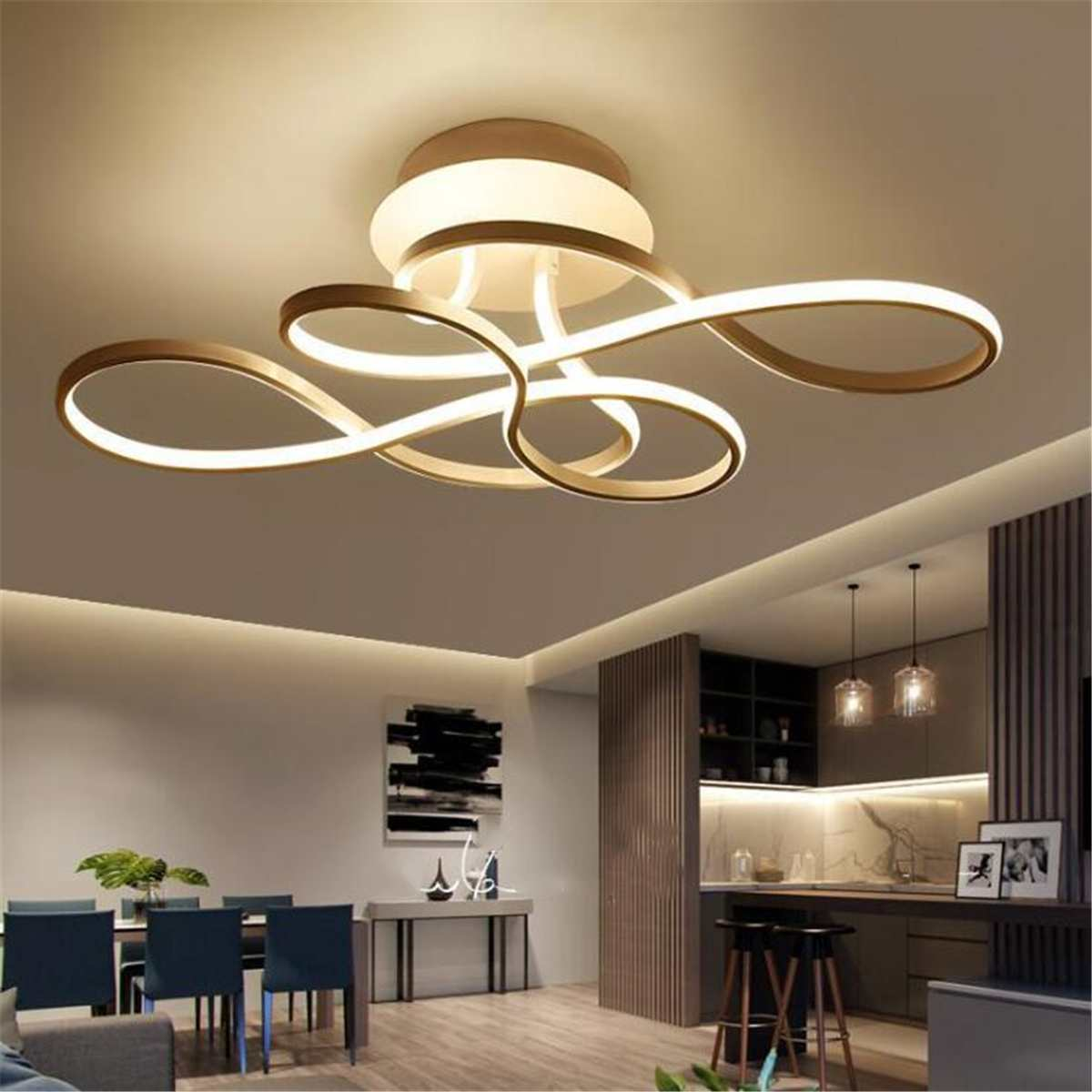 110 V plafonnier moderne en Aluminium acrylique LED plafonniers luminaires Rectangle suspension lumière chaude lampe salon
