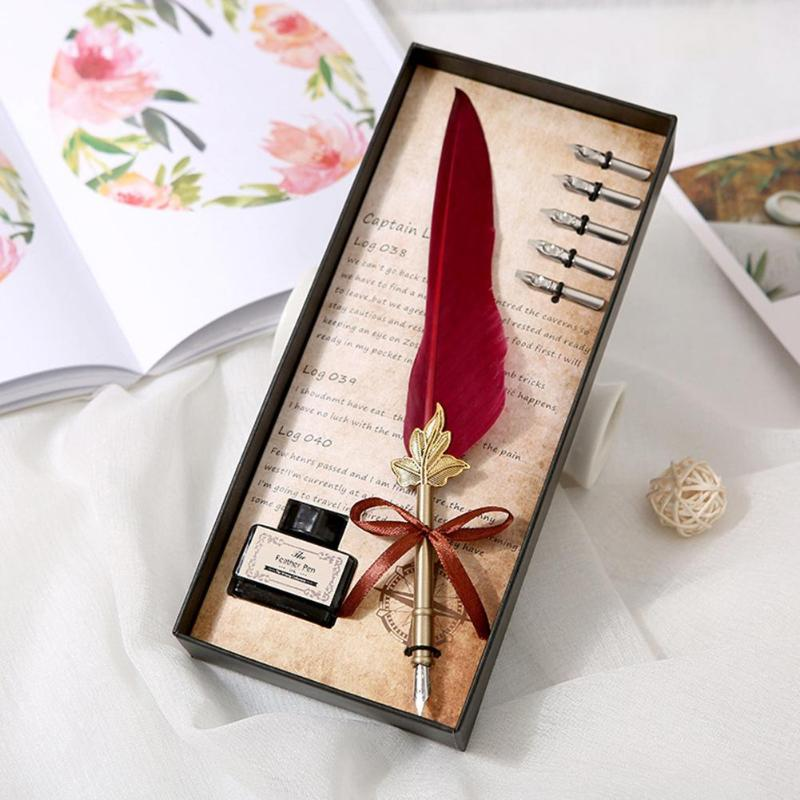 Retro Vintage Calligraphy Feather Dip Pen Writing Set Quill Fountain Pens Birthday Gifts Stainless Steel Nib Fountain Pens