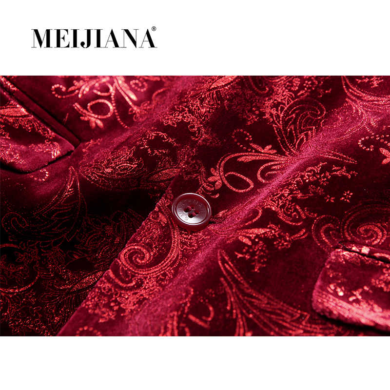MEIJIANA Masculino ブレザースーツウェディングイブニング花婿の付添人の花ジャケット 2018 ドレス男性衣装パーティープリントワイン赤ブレザー