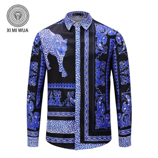 8414de9a281a Spring Summer New Men Shirt Blue Leopard Animal Pattern 3D Printing  Hawaiian Shirt Casual Long Sleeve Camisas Masculina