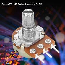 50pcs/Lot WH148 B10K Linear Potentiometer Pot Adjustable Rotary Potentiometer Variable Resistor 15mm 50pcs trimmer potentiometer rm 065 1kohm 102 1k trimmer resistors variable adjustable resistors