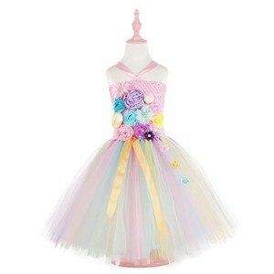 Image 2 - בנות תלבושות פרח חתונת שמלת ילדי unicorn שמלת ילדה טוטו נסיכת שמלת ילדים חמוד שמלות מכיל סרט ZH 1904