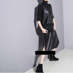 [EAM] 2019 New Spring Summer Strapless Sleeveless Black Pu Leather Loose Brief Dress Women Fashion Tide All-match JO287 3
