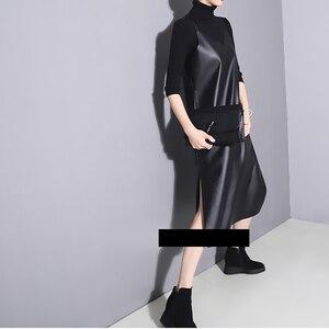Image 3 - [EAM] 2020 Nuova Primavera Estate Senza Bretelle Senza Maniche Nero di Cuoio Dellunità di elaborazione Allentato Breve Vestito Delle Donne di Modo di Marea All partita JO287