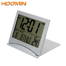 Desk-Clock Temperature-Timer Home-Decor Foldable Digital LCD Date HOOMIN