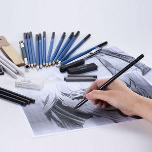 Image 5 - 33 pcs 연필 전문 드로잉 스케치 연필 키트 스케치 흑연 숯 연필 스틱 지우개 편지지 드로잉 Suppli