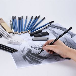 Image 5 - 33個鉛筆プロの描画スケッチ鉛筆キットスケッチグラファイト炭鉛筆スティック消しゴム文房具描画サプリ
