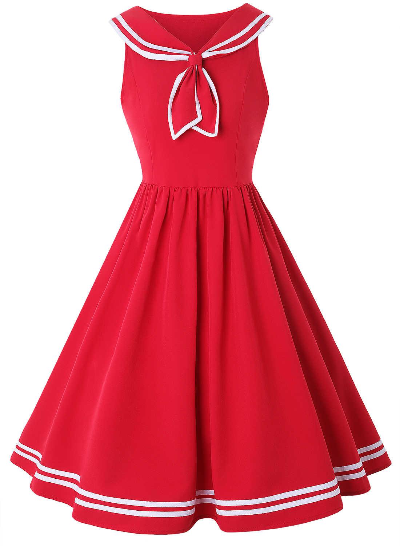ca61227f8b ZAN.STYLE Vintage Dress Women Summer Pin Up Dresses Hepburn 50s Rockabilly  Sailor Collar Blue Vintage Dresses For Ladies Girls