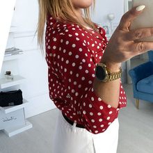 Half Sleeve Turtleneck Buttons Polka Dot Casual Blouse