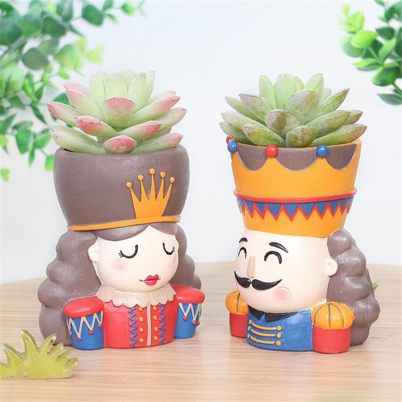 Haus & Garten Vasen Aufstrebend Blumentöpfe Neue Design Pflanzer Container Für Mini Anlage Sukkulenten Nette Decor Duke König Königin Soldat Blumentöpfe Verschiedene Stile