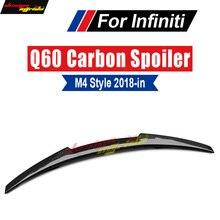 Q60 Spoiler Trunk Rear wing tail AEM4-style Carbon fiber For Infiniti  Q60s Black Splitter Tail Wing 18+