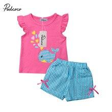 2019 Baby Girl summer clothing set cute Whale T-shirt Shorts Boutique Outfit for Kid clothes toddler Children newborn infant 0-5 цена в Москве и Питере