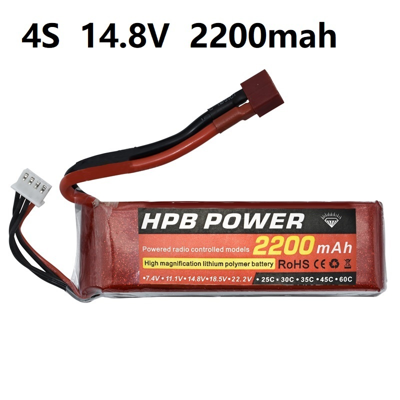 4S <font><b>14.8V</b></font> <font><b>2200mAh</b></font> 35C Lipo Battery 4S LiPo Battery <font><b>14.8V</b></font> Lithium-Polymer Battery For RC Helicopters Car Boat RC Drone Battery HPB image