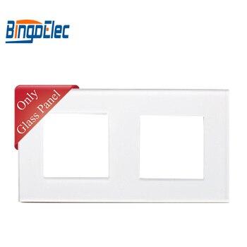 Cadre de prise en verre double standard trois couleurs EU pour interrupteur BINGOELEC et pièces de prise