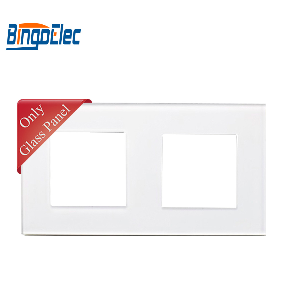 to buy switches with a glass frame - Three color EU standard double glass socket frame for BINGOELEC switch and socket parts