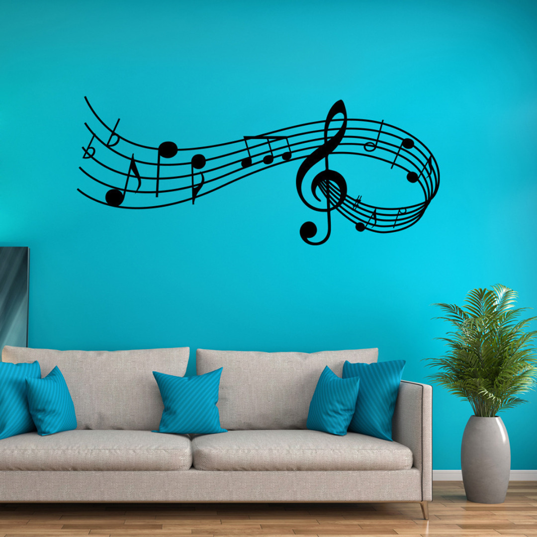 Wall Sticker Music Songs Sound Notes Melody Wall Decal Bedroom Office Decor Removable Music Sticker image