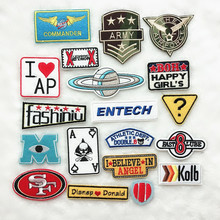 100pcs/lot Embroidery Patches Iron Morale Letter Skull Angel Stickers  Clothing Sewing Accessories
