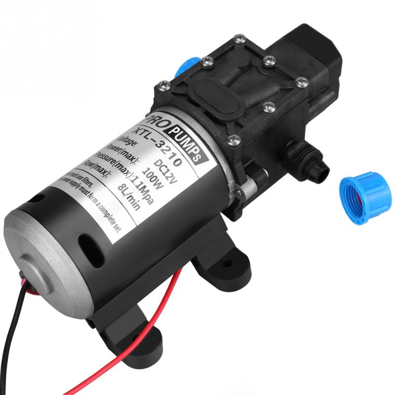 12V 100W Water Pump 8L Min 160Psi High Pressure Diaphragm Self Priming Water Pump Car Wash