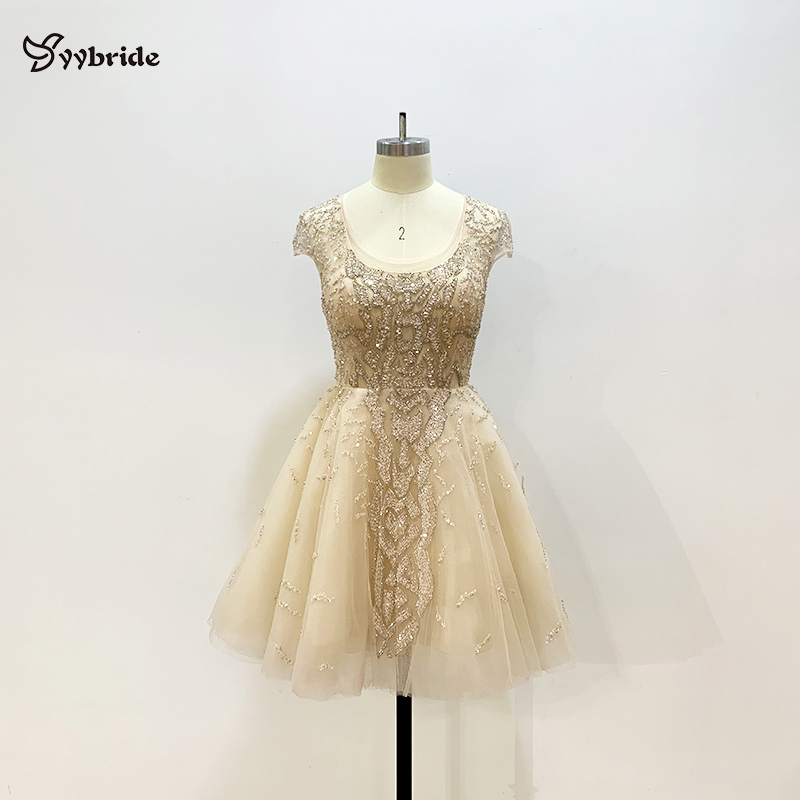Cheap Price Illusion Tulle Fabric Mini   Prom     Dresses   Square Collar Beading Crystals Luxury Party   Dresses   Above Knee Short   Dress