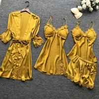 Été nouveau 4 pièces ensemble femmes Pyjama tache de haute qualité dentelle vêtements de nuit sexy avec Pyjama poitrine Pad