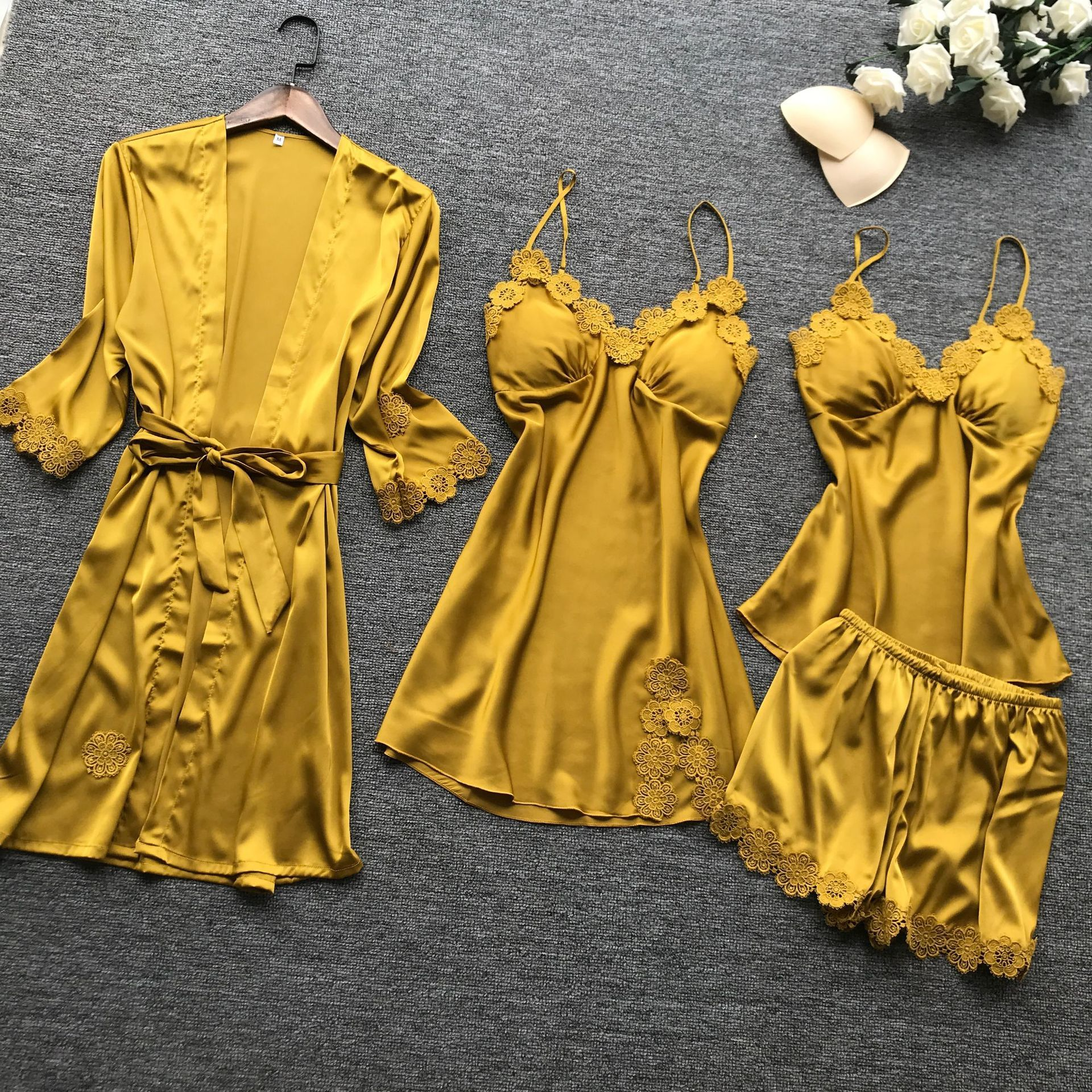 Summer New 4 Pcs Set Women Pyjama Satin High Quality Lace Sexy Sleepwear With Chest Pad Pajamas