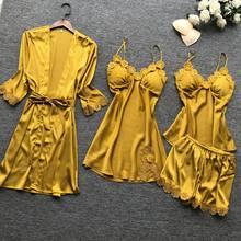 Pijama feminino, jogo 4 pçs pijama de cetim com rendas de alta qualidade com bojo