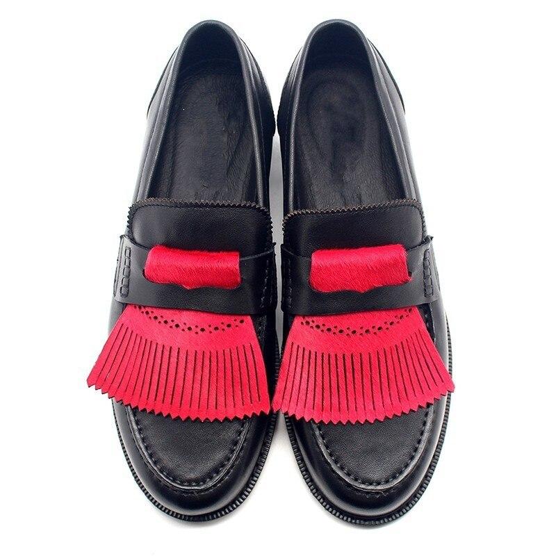 Plana En Resbalón Rojo Flecos Oxfords Formal Caída Vaca Borla Traje Black De Mocasines Vestido Británico Estilo 2018 XwYUzz