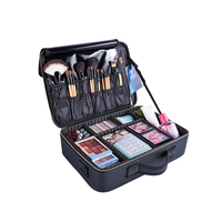 High Quality PU Makeup Organizers Women Professional Cosmetic Case Beauty Travel Large Capacity Toiletry Wash Suitcases Supplies