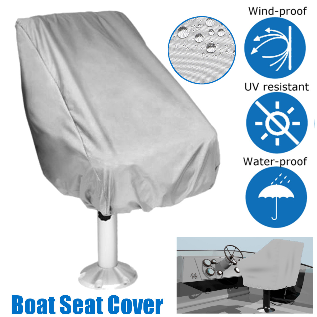 Boat Cover Initiative 56*61*64cm Boat Seat Cover Dust Waterproof Seat Cover Elastic Closure Outdoor Yacht Ship Lift Rotate Chair/table Furniture Cover